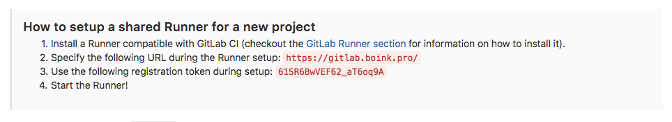 GitLab shared runner token