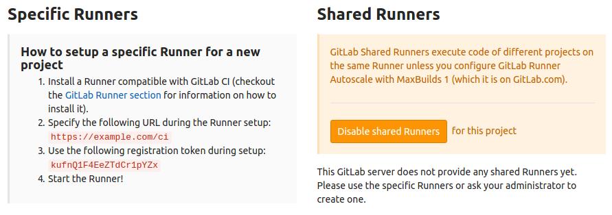 GitLab specific runner config settings