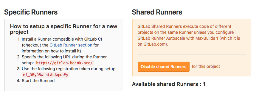 GitLab specific runner config settings