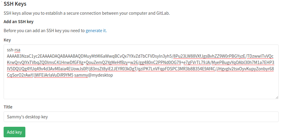 GitLab add SSH Key