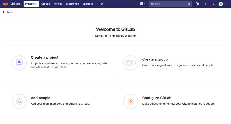 GitLab initial login landing page