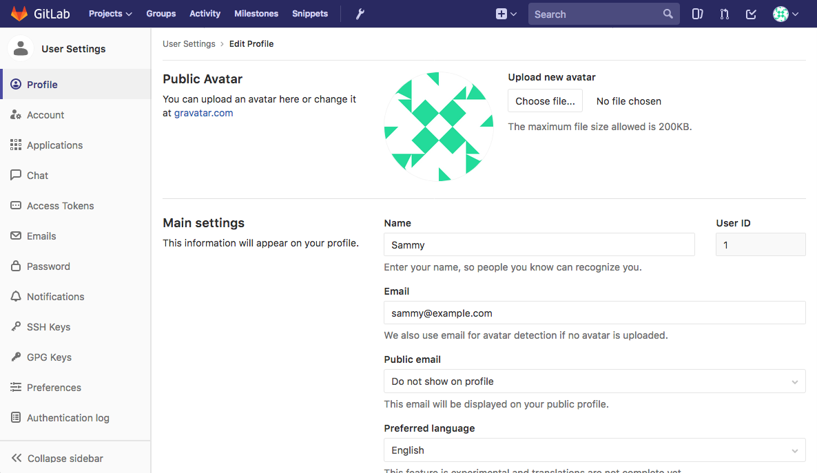 GitLab profile settings page