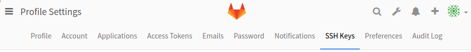 GitLab SSH Keys menu item