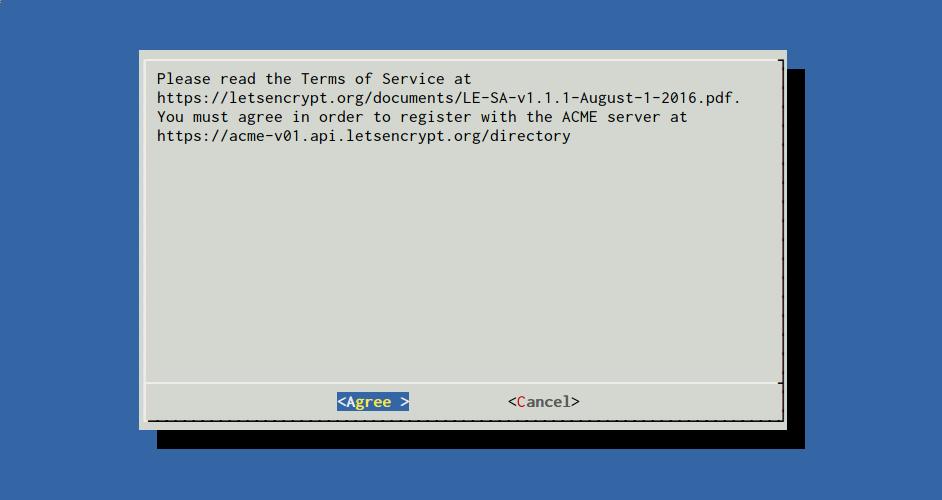 Let's Encrypt accept TOS