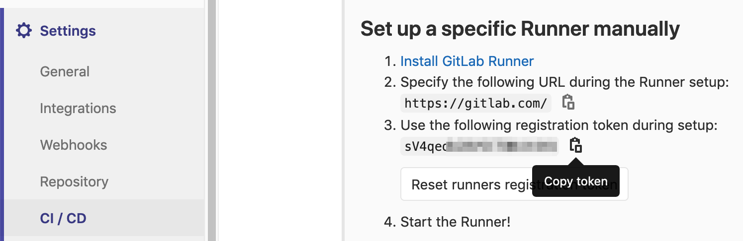 The runners section in the ci/cd settings with the copy token button