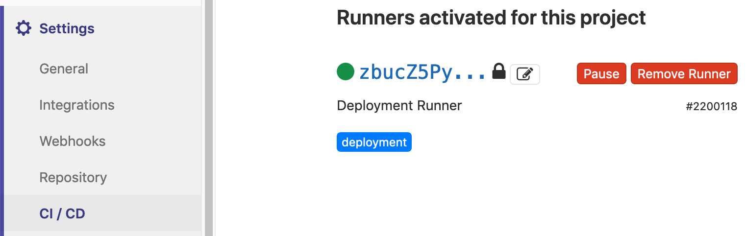 The registered runner in the runners section of the ci/cd settings