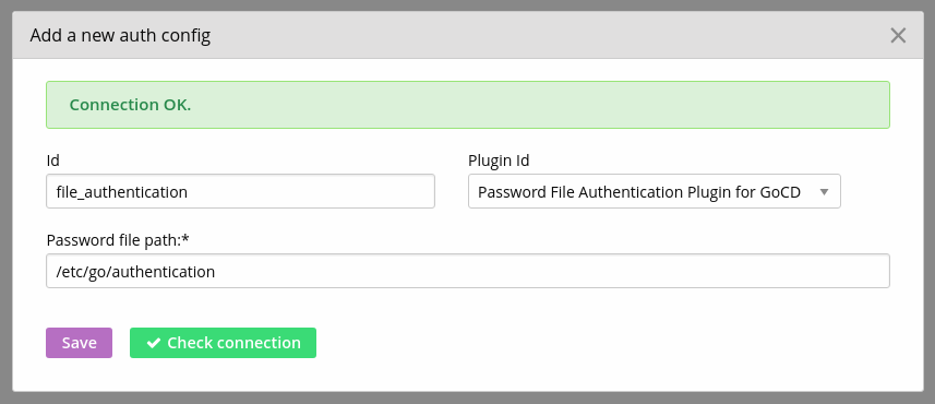 Enter authentication and check connection