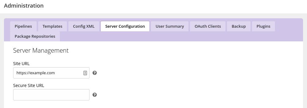 GoCD site URL setting