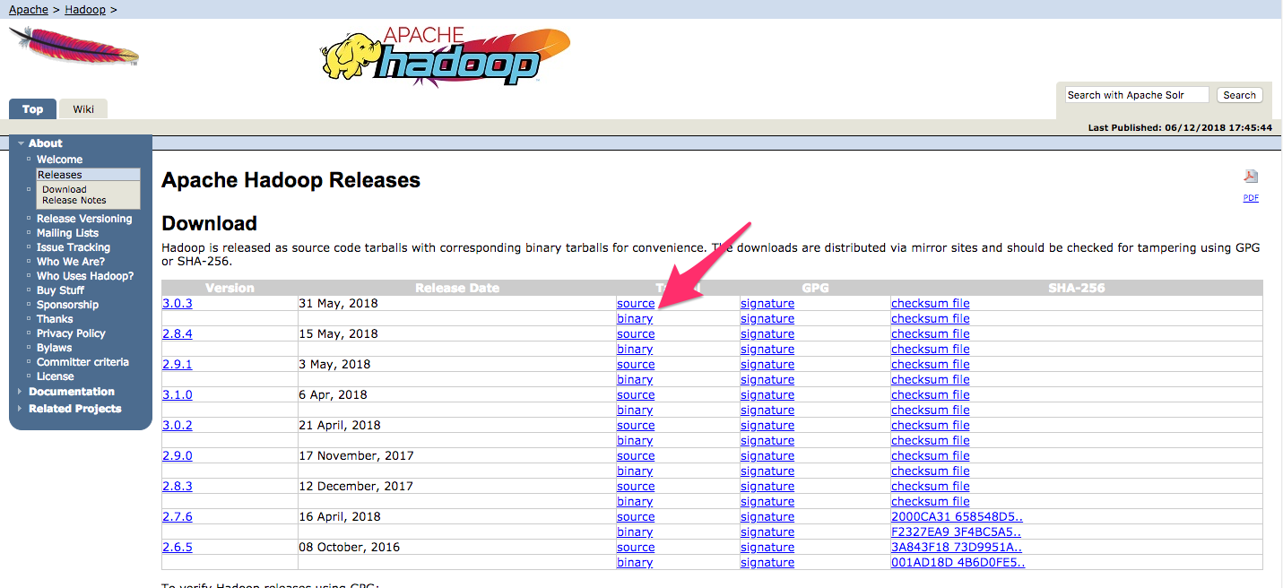 Screenshot of the Hadoop releases page highlighting the link to the latest stable binary