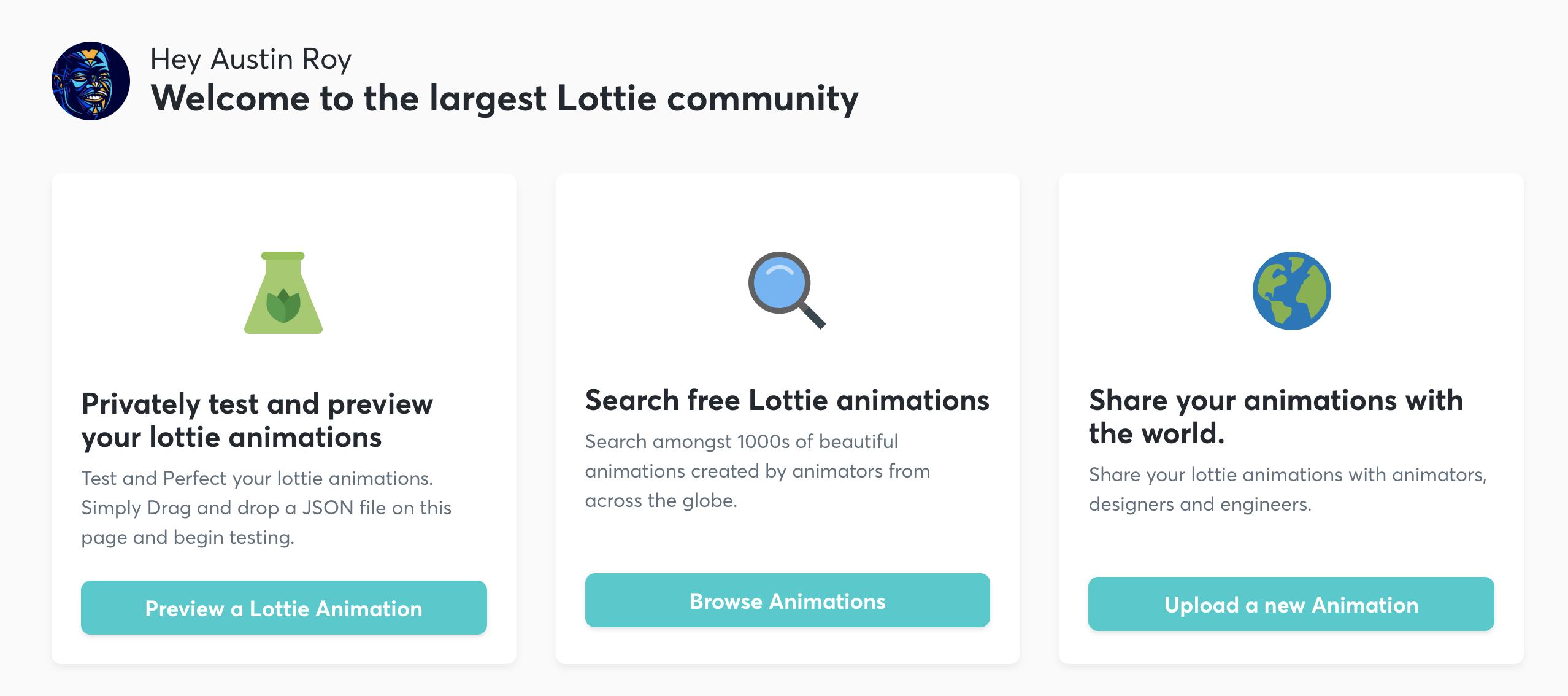 Screenshot of the LottieFiles menu.
