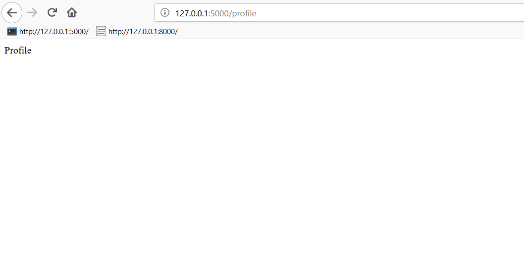 Screenshot des Projekts auf localhost Port 5000 im Browser