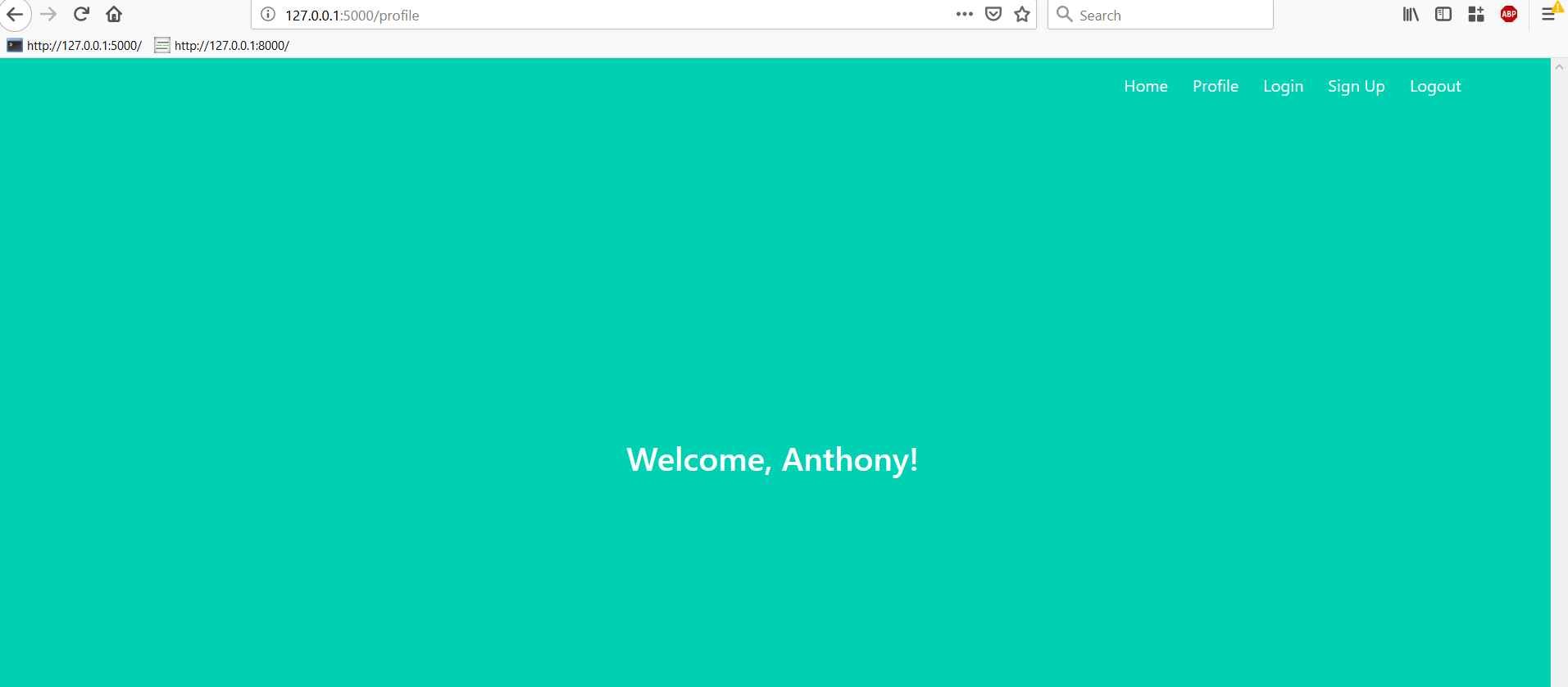 "Profile page with ""Welcome, Anthony!"""