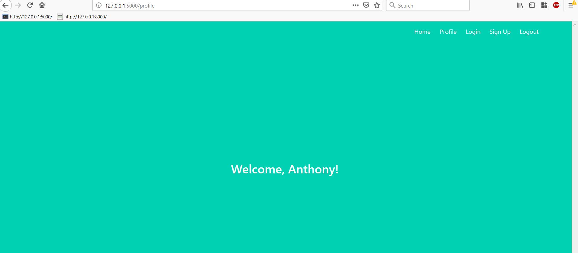 Страница профиля с текстом «Welcome, Anthony!»
