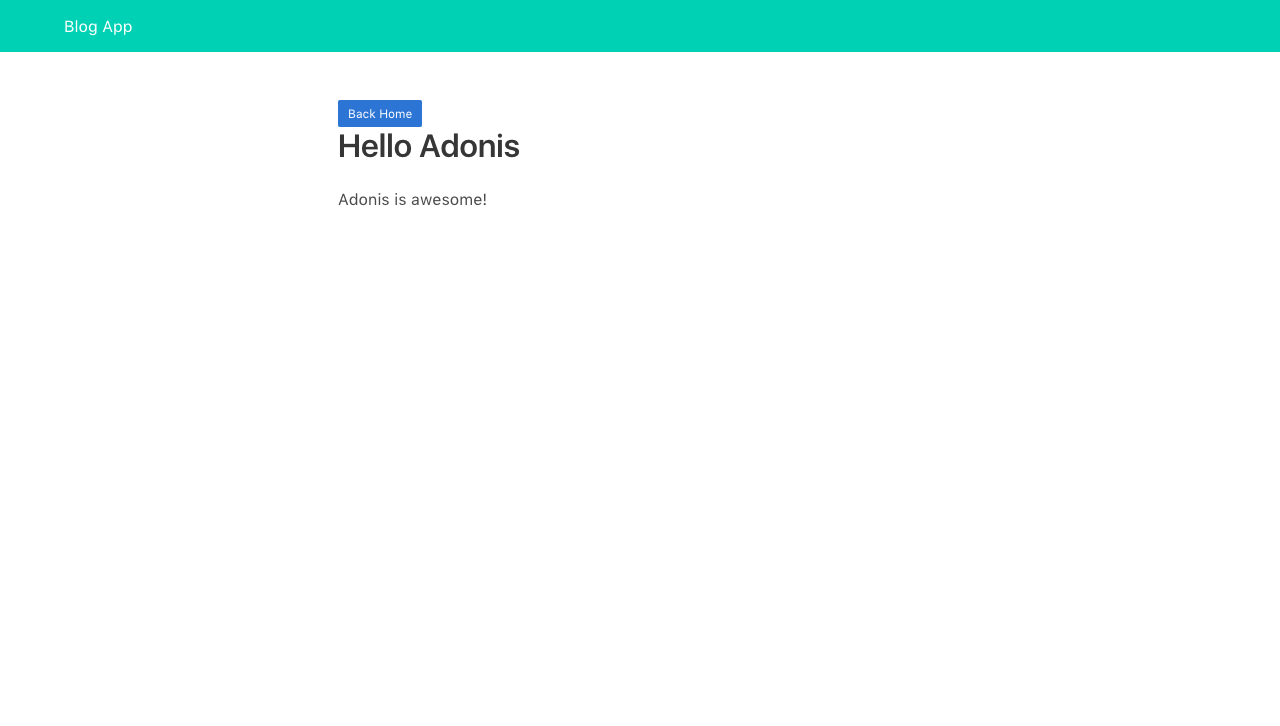Single post view with Hello Adonis example text