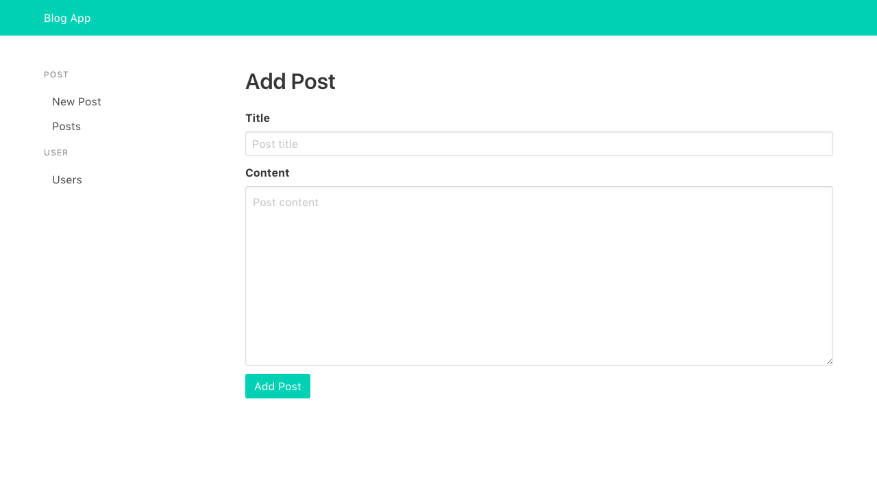 Add Post page with title and content fields