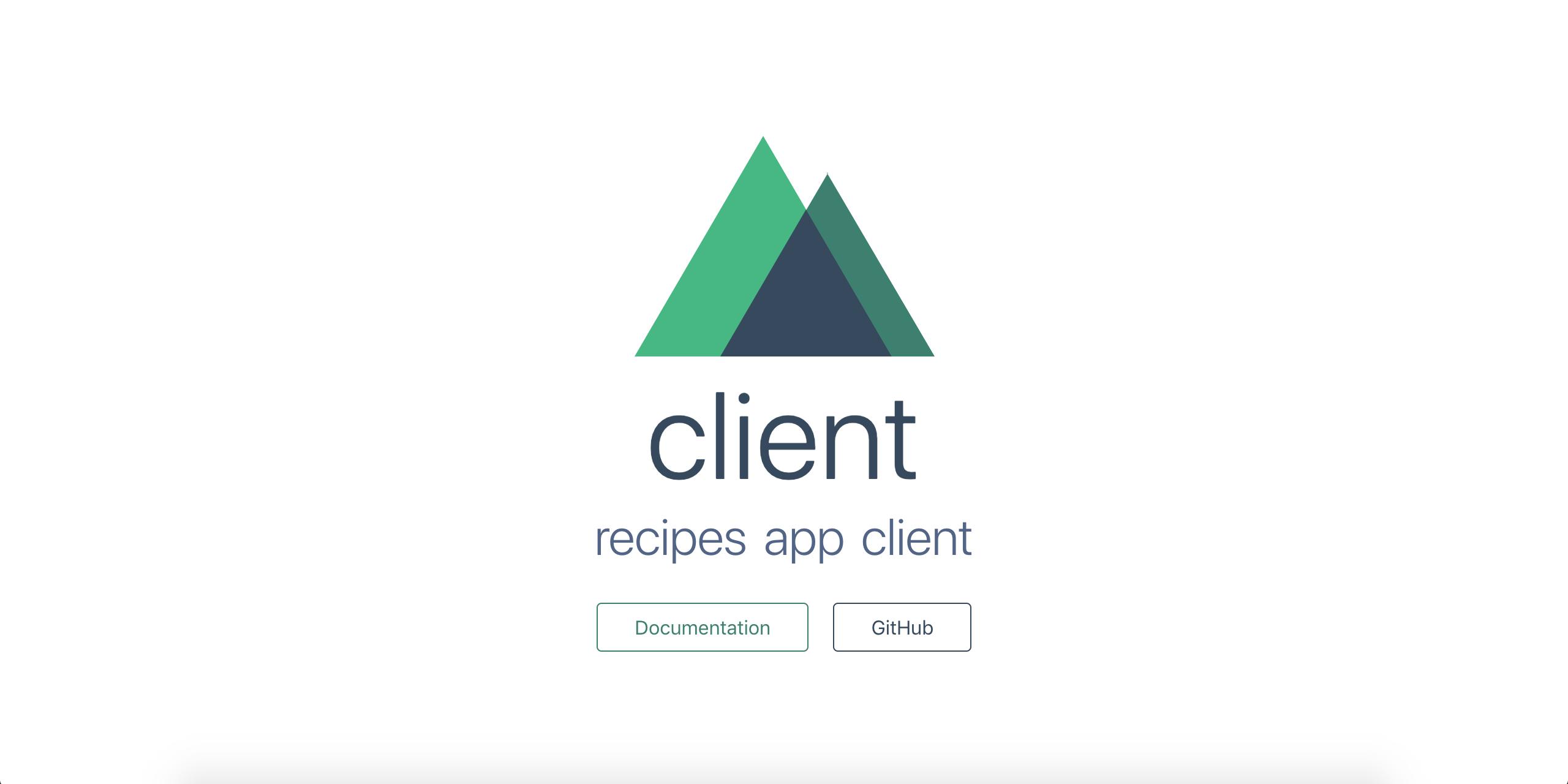 """Nuxt app page showing """"recipe app client"""""""