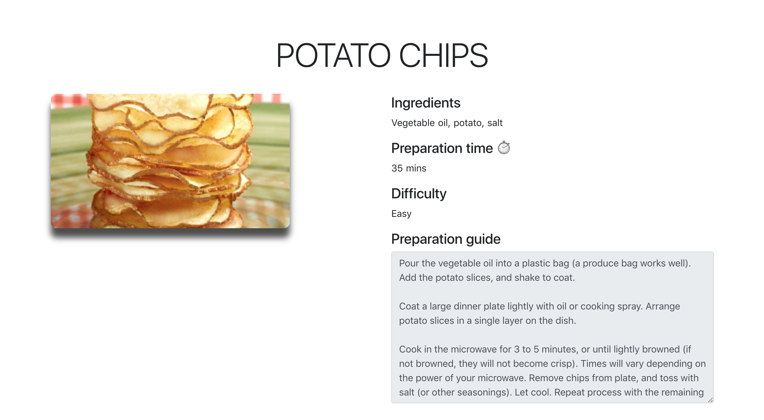 Single recipe item potato chips. With ingredients, prep time, difficulty, and prep guide