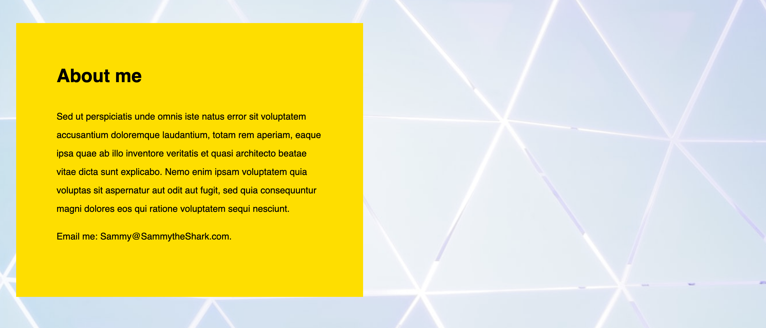 Webpage with yellow div box with un-styled text