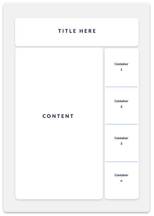 Diagram of the desired layout with a content section on the left and a sidebar section on the right with multiple items in the sidebar.