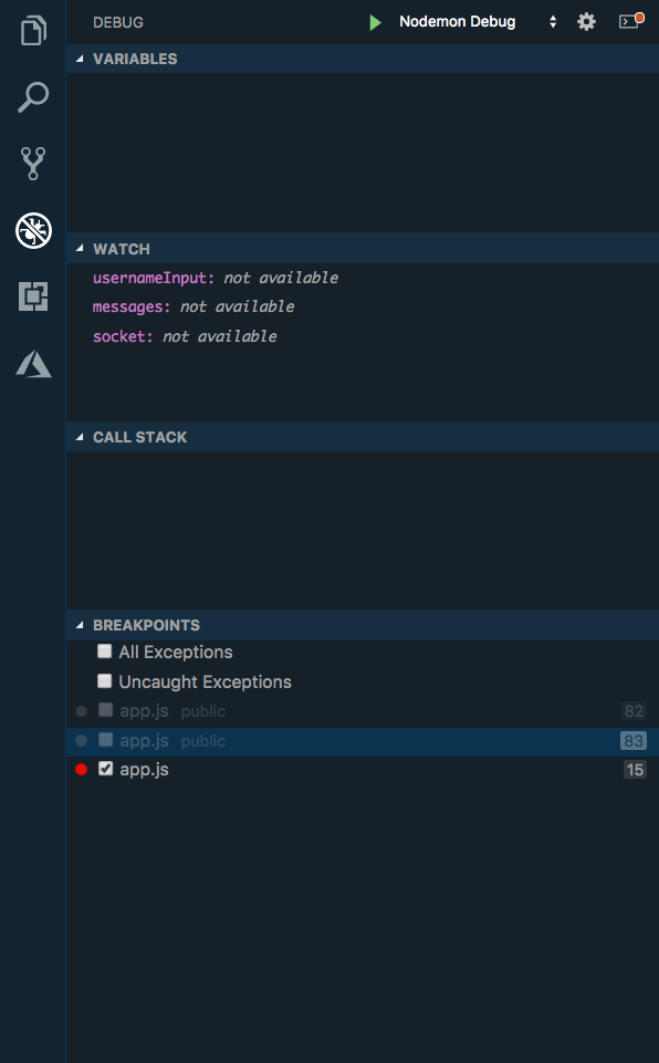 Debug panel in VS Code