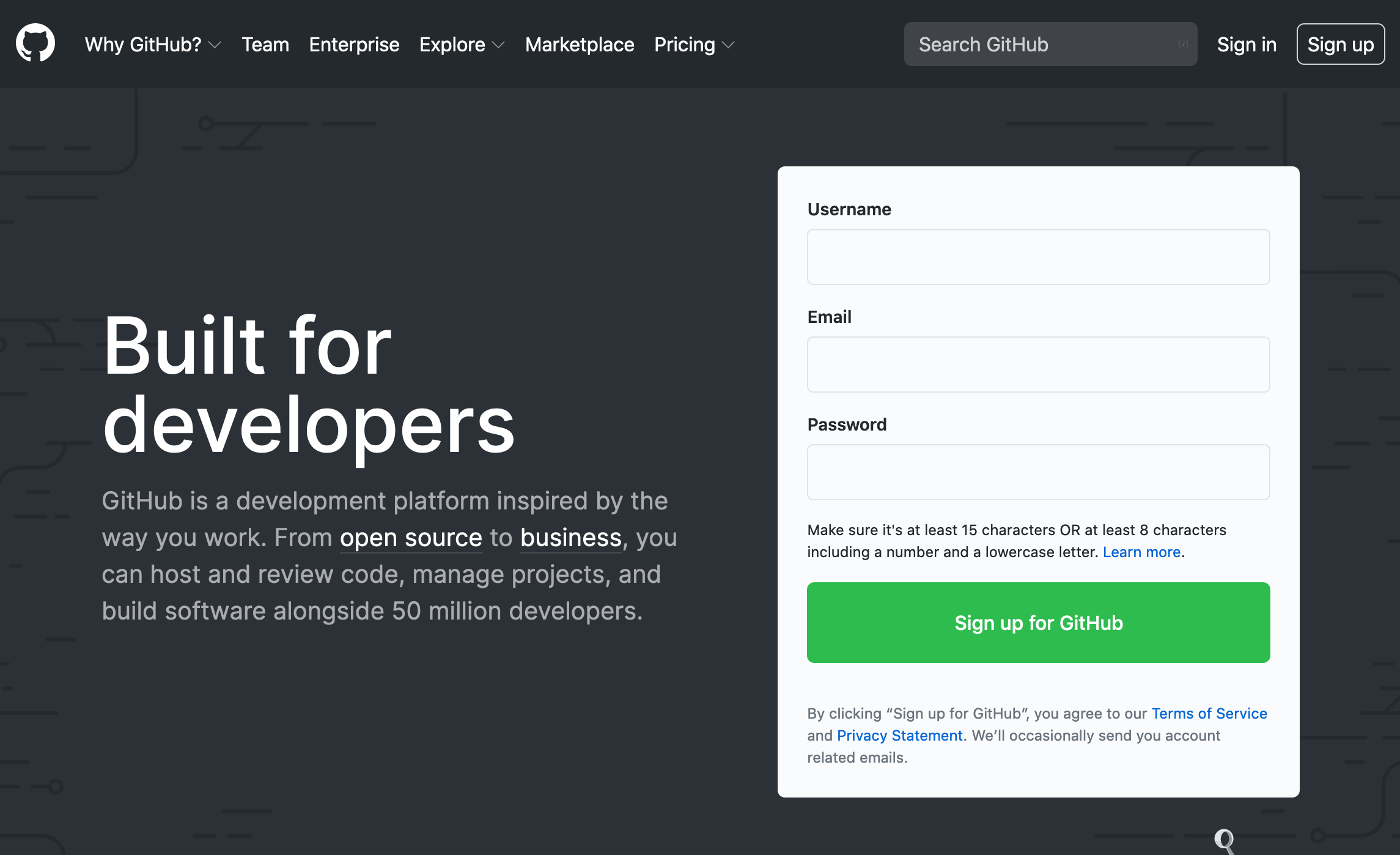 GitHub Sign Up page