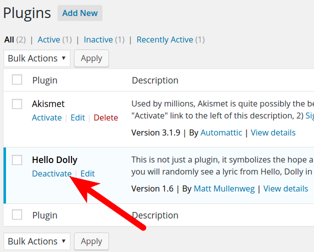 Deactivate WordPress Plugins