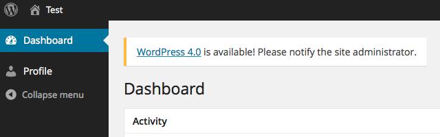 WordPress update notification