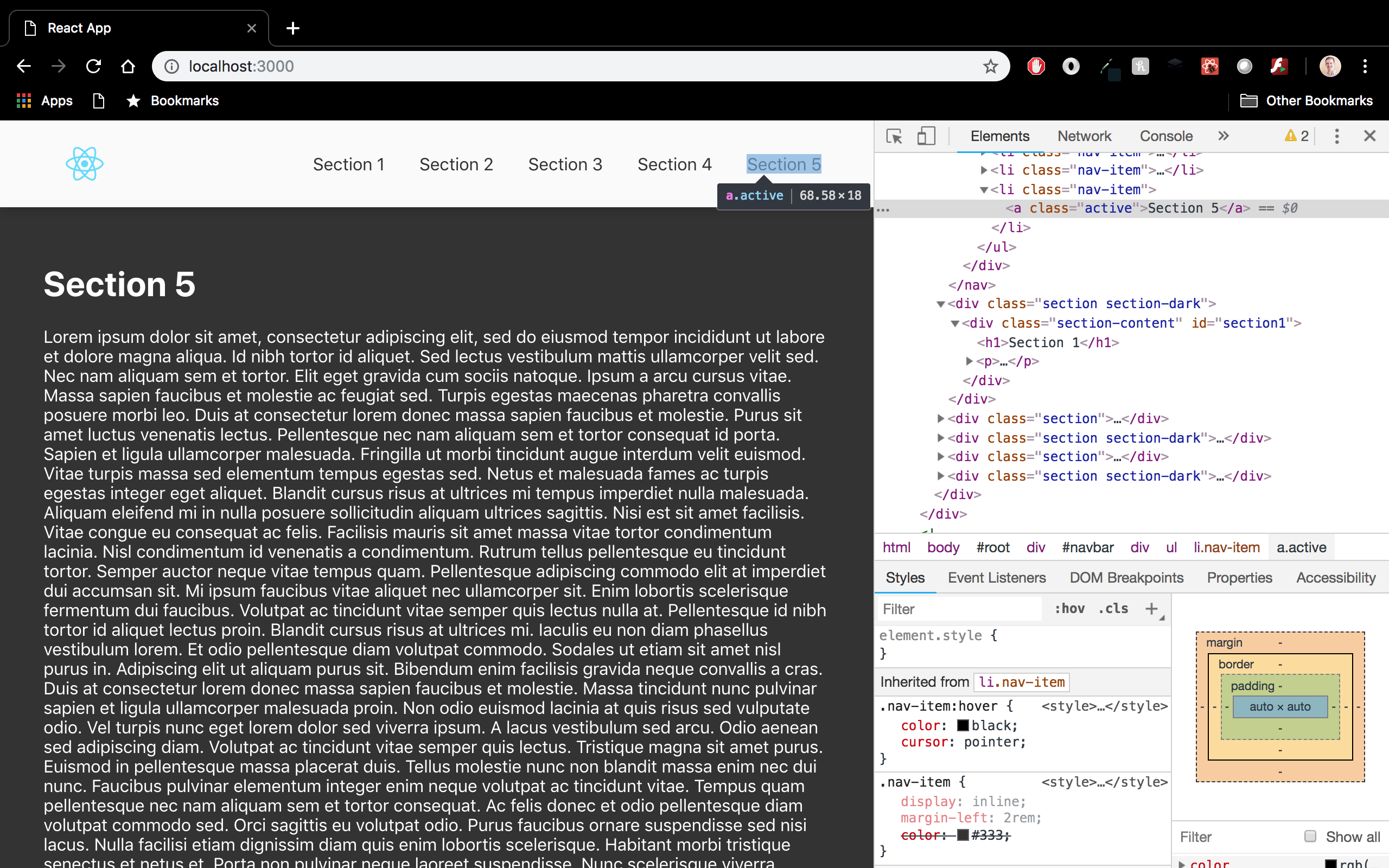 Browser view of React app