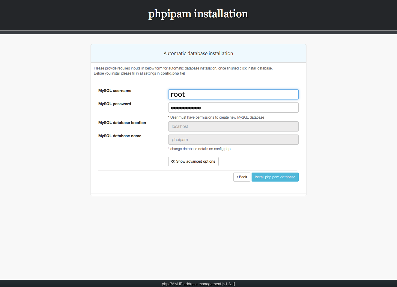 Installing phpIPAM, step 3