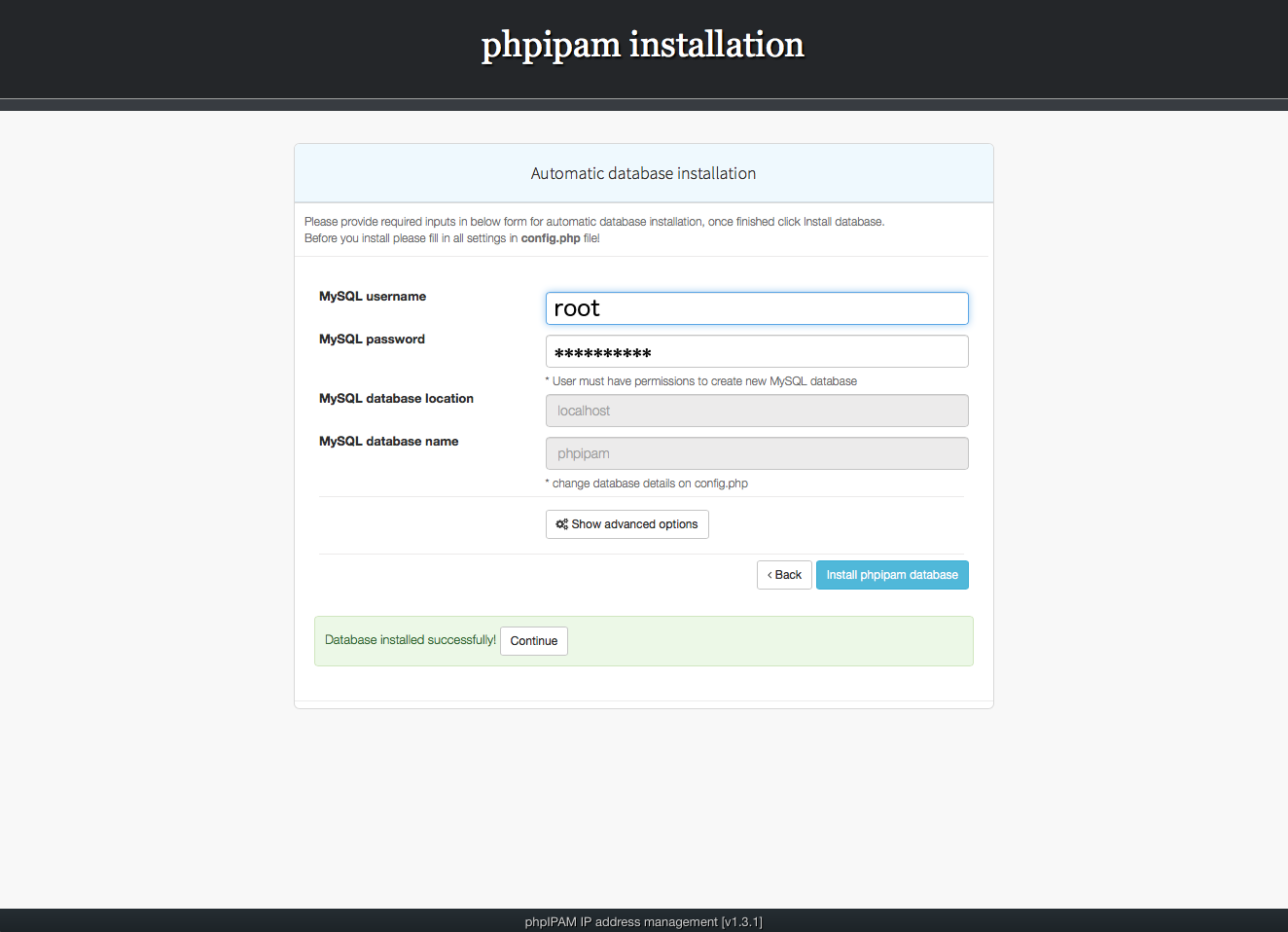 Installing phpIPAM, step 4