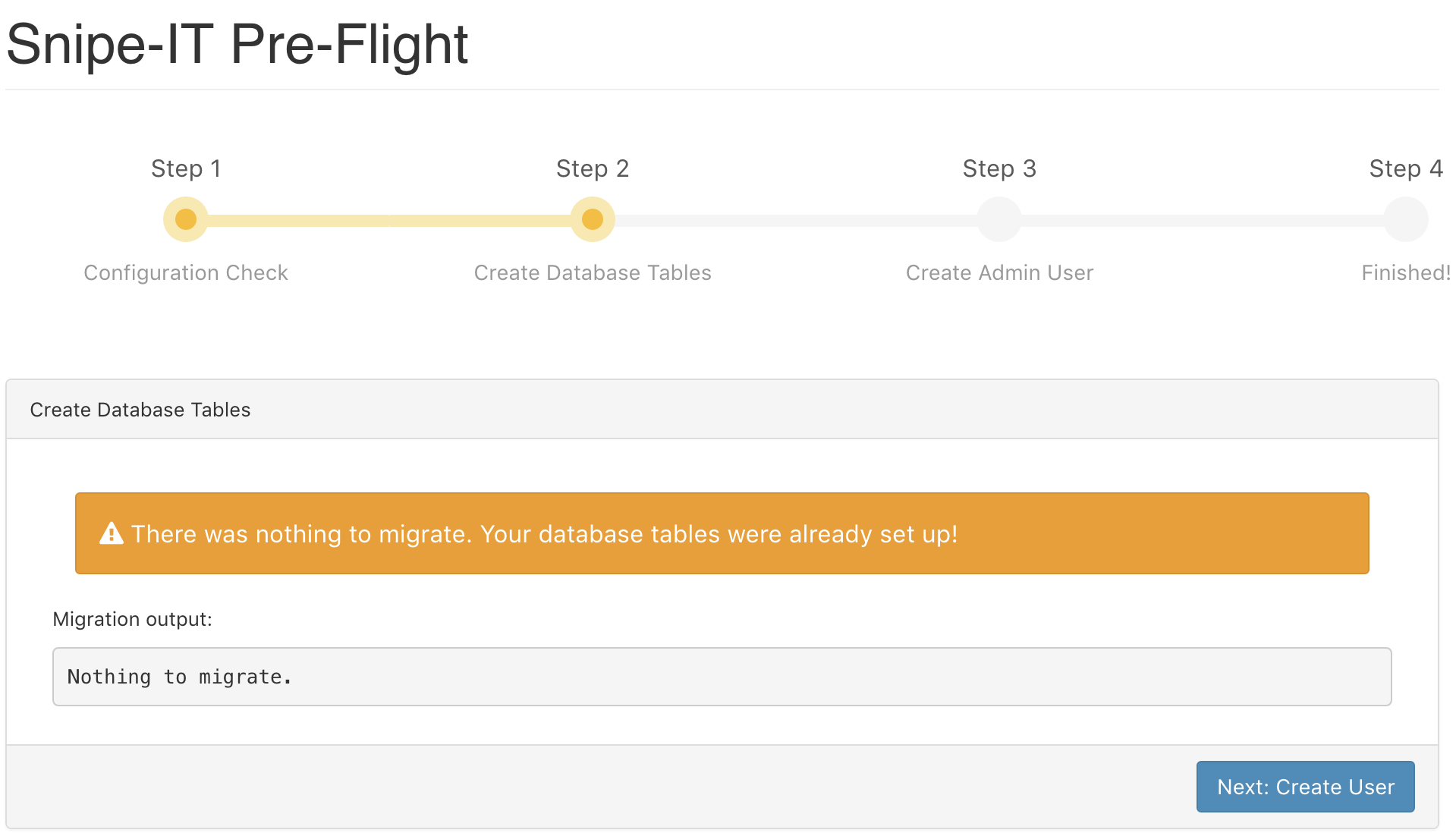 Snipe-IT Pre-Flight: Create Database Tables