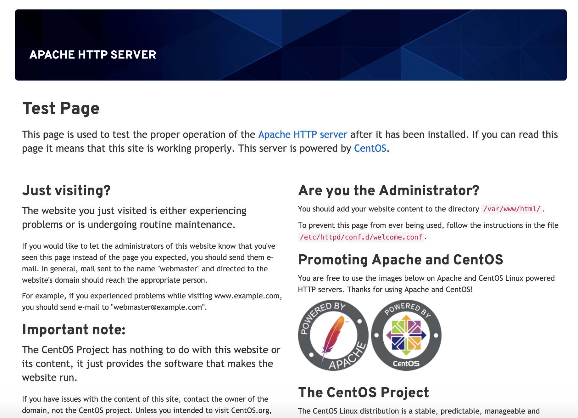 Default Apache page for CentOS 8