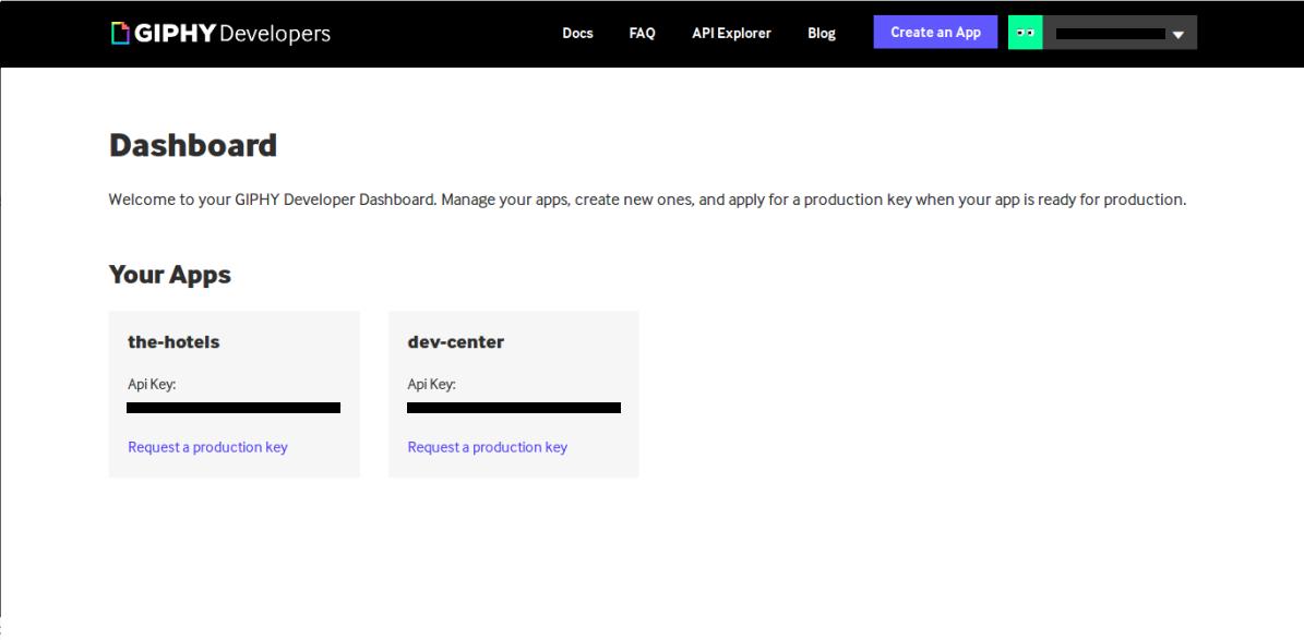 Screenshot of registered applications in Giphy developer dashboard