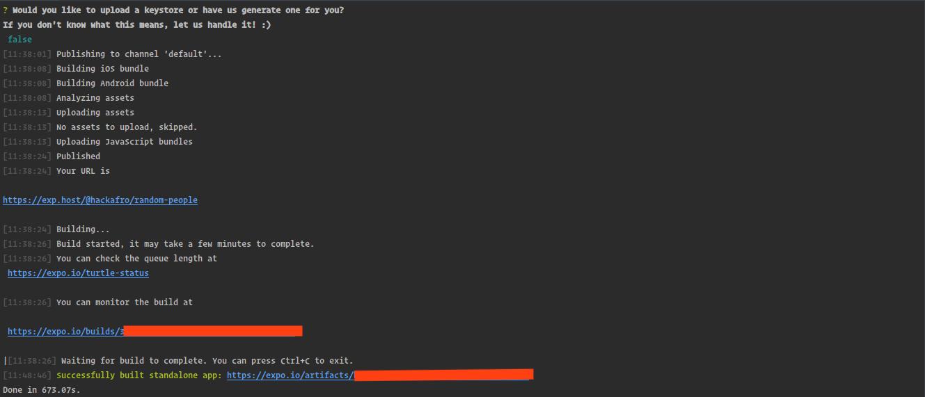 Screenshot showing expo.io download URL