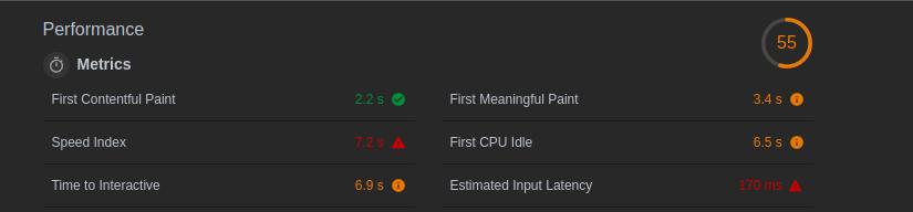 The metrics section