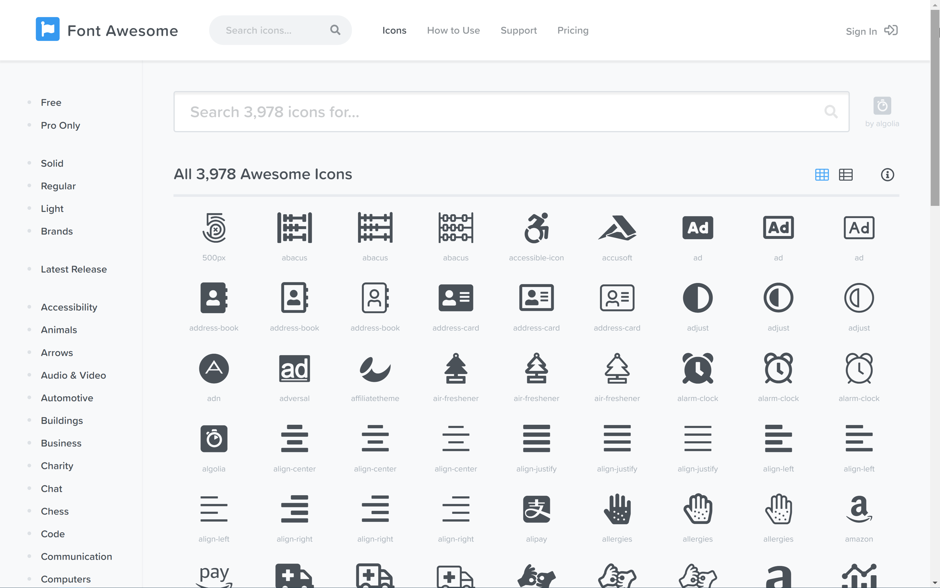 Font Awesome website with its icons