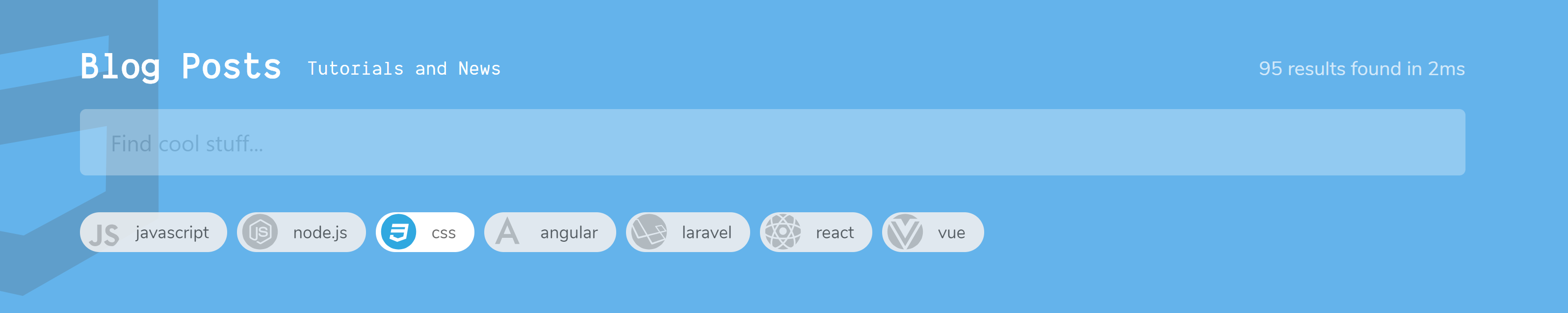 Теги снова фильтруются, но теперь с синим фоном