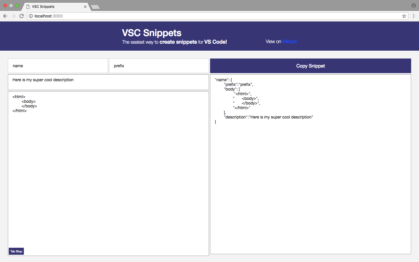An example of a project running on localhost available to the invitees