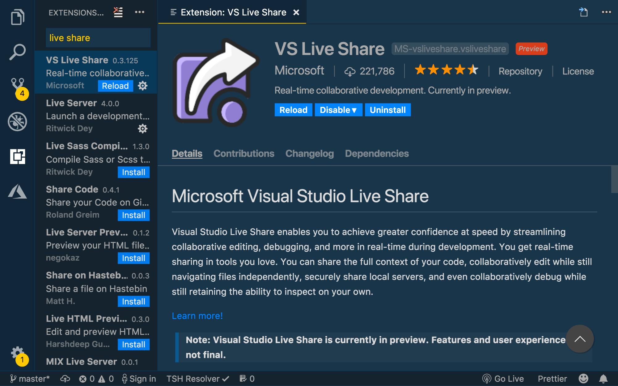 Visual Studio Code extension tab displaying VS Live Share