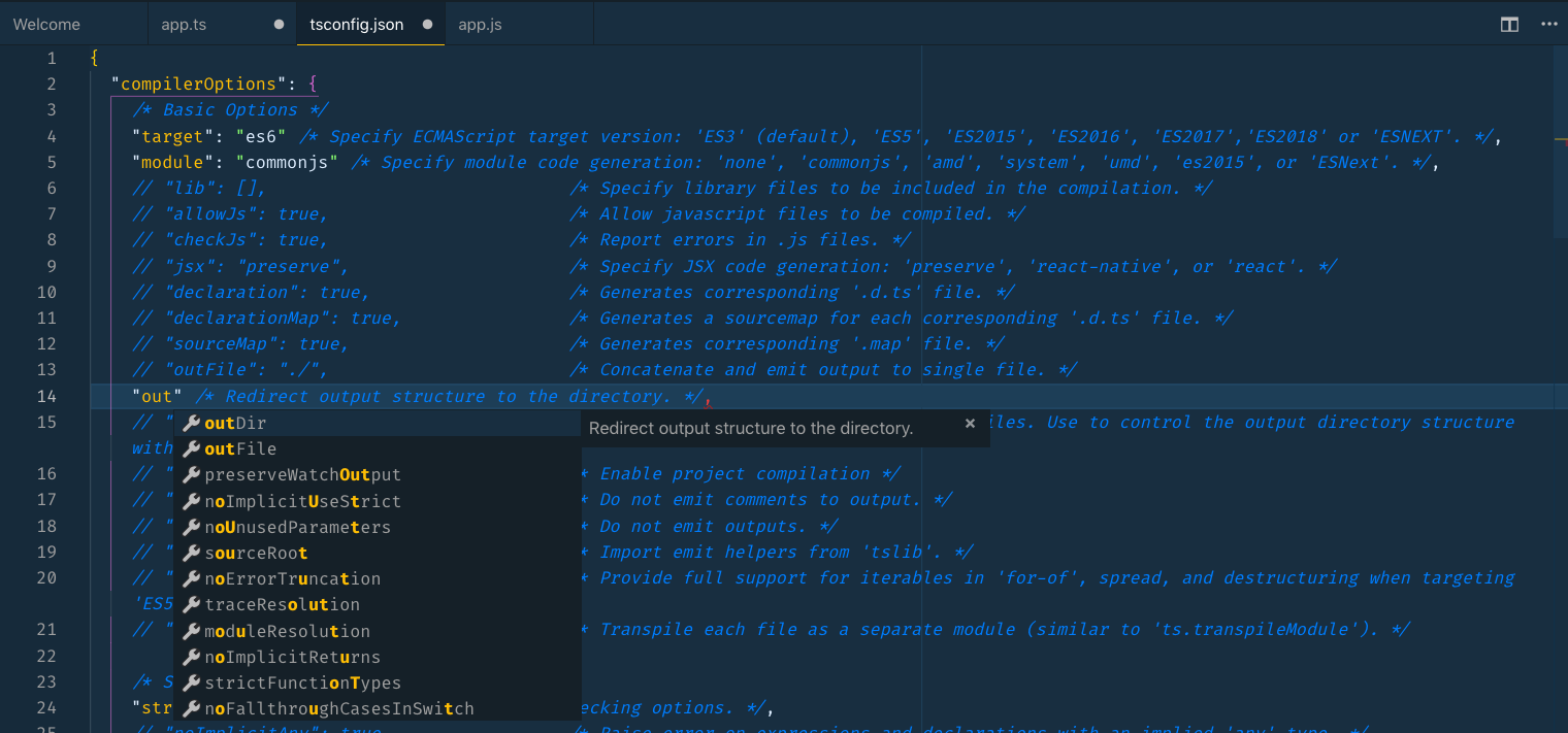 Screenshot of IntelliSense suggestions