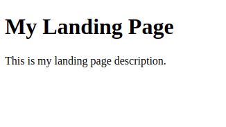 Screenshot showing custom landing page