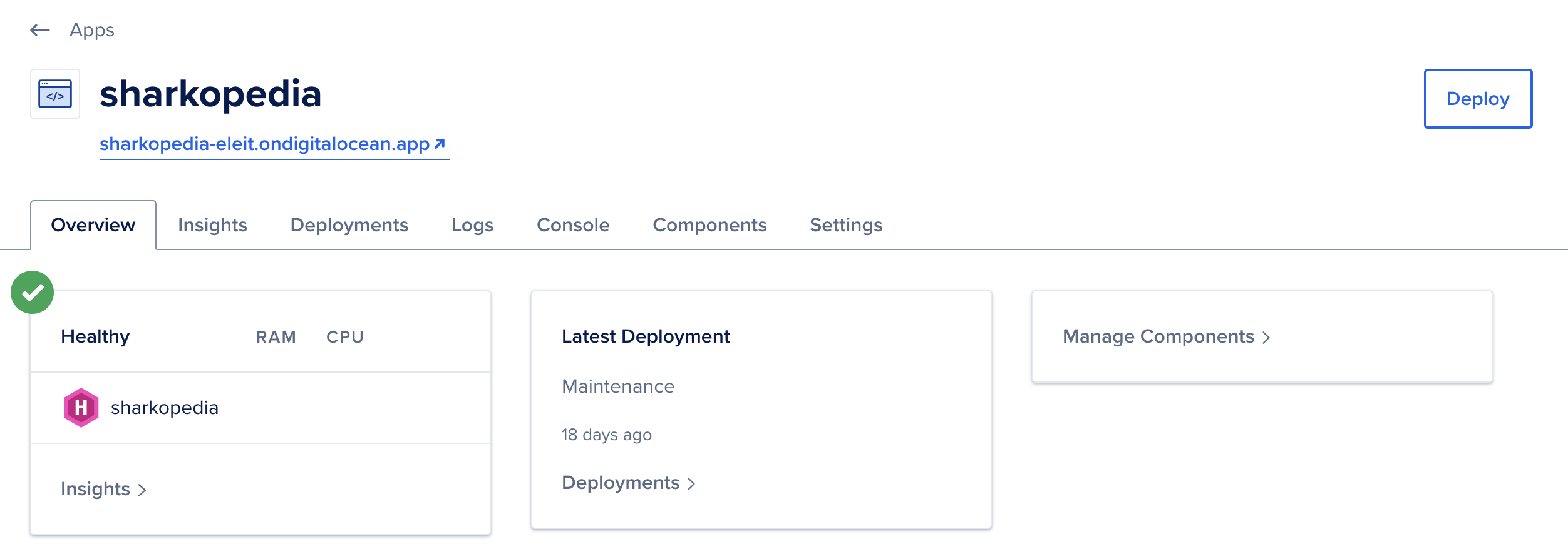 The deployed site in the dashboard