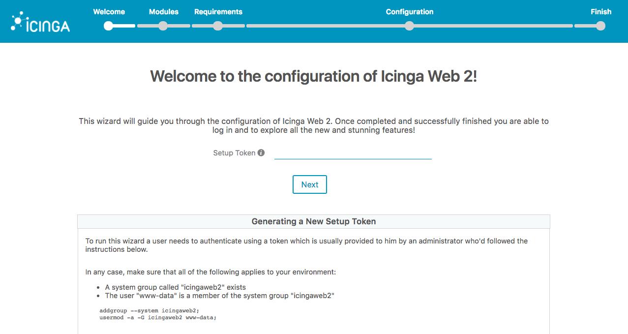 Icinga Web Setup Page