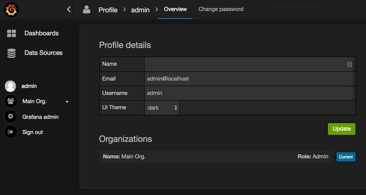 Grafana Admin Profile Configuration Page