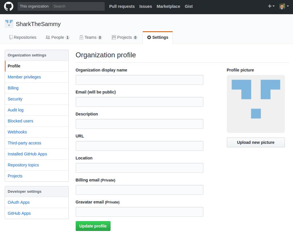 GitHub Organization Settings