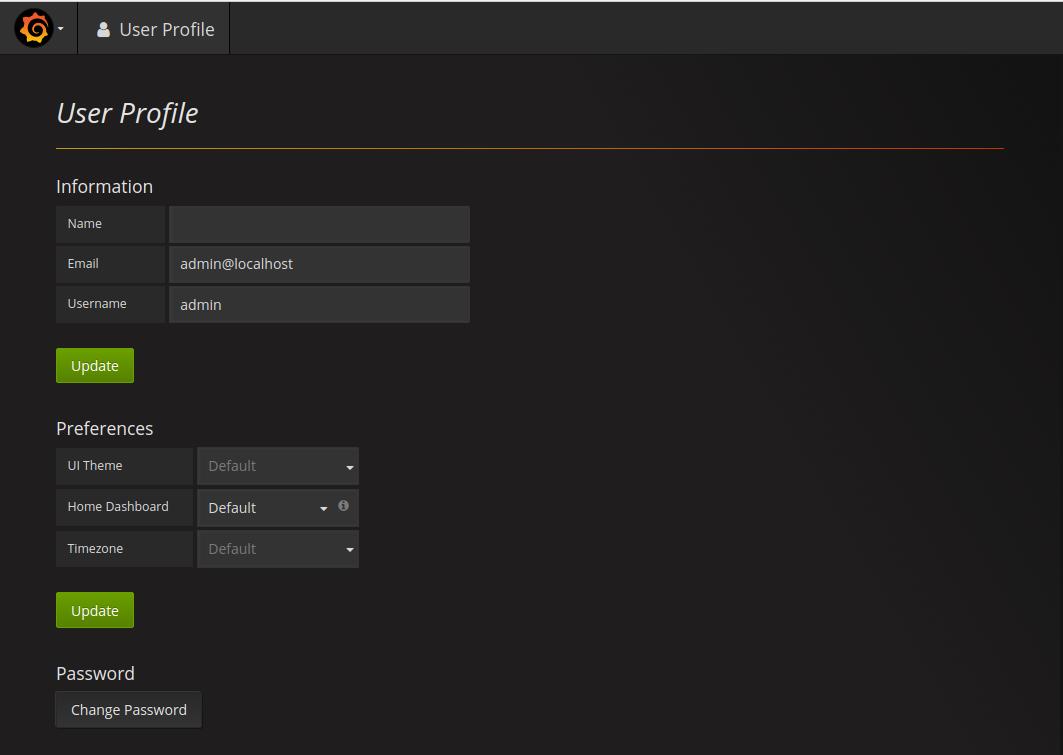 Grafana profile preferences