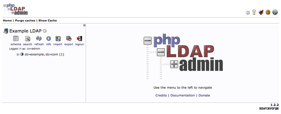 phpLDAPadmin main page