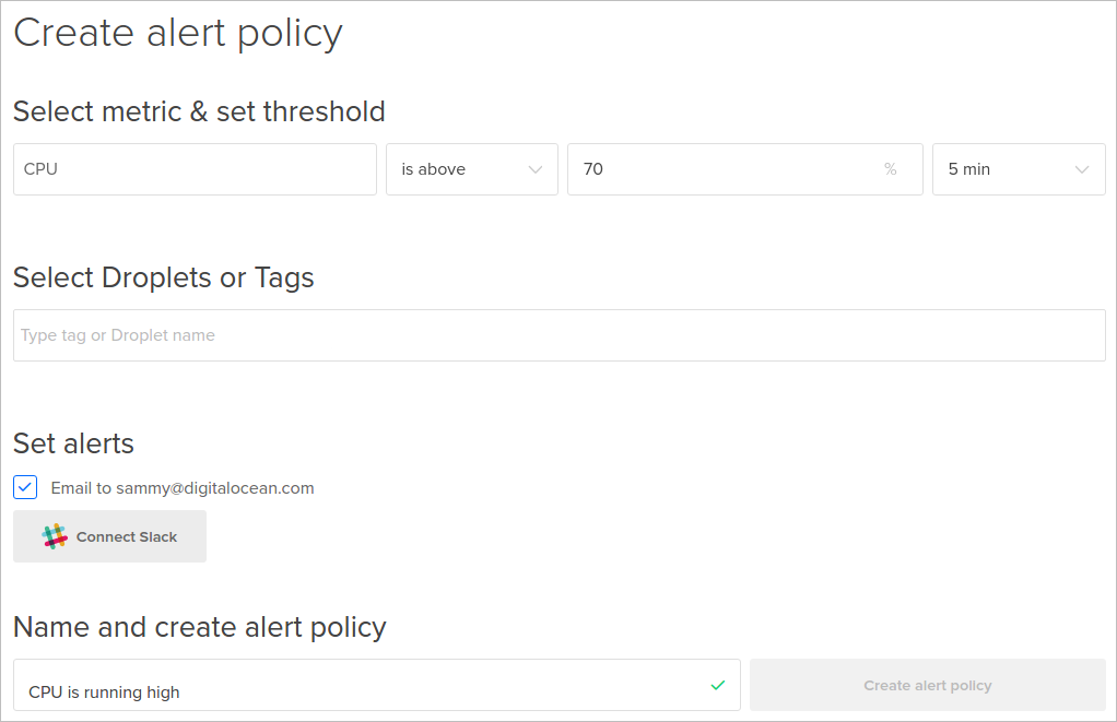 DigitalOcean new alert policy