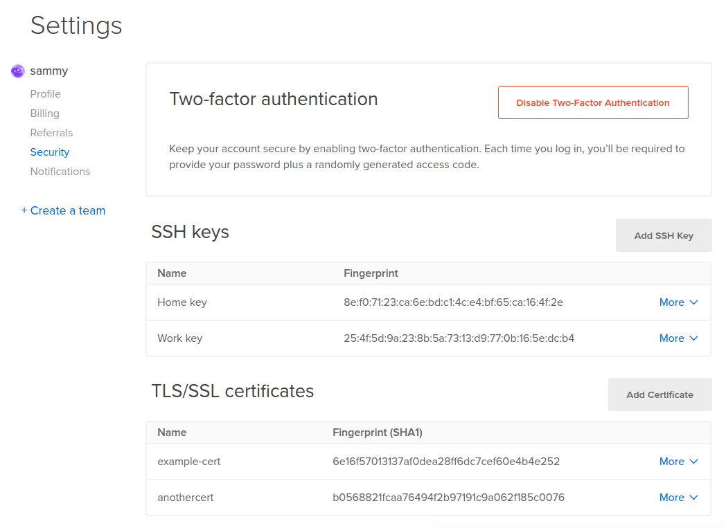 DigitalOcean security settings