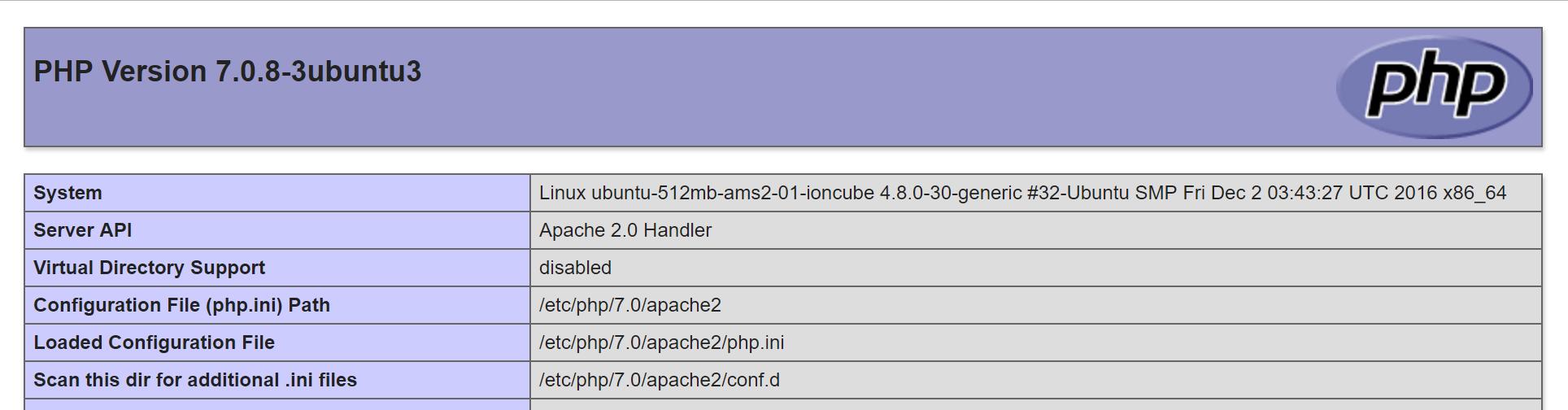 Ubuntu 16.10 default PHP info